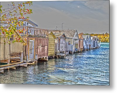 Row Of Boathouses Metal Print by William Norton
