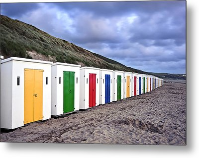Row Of Colorful Beach Huts  Metal Print by Matthew Gibson