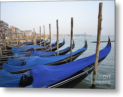 Row Of Empty Moored Gondolas Metal Print by Sami Sarkis