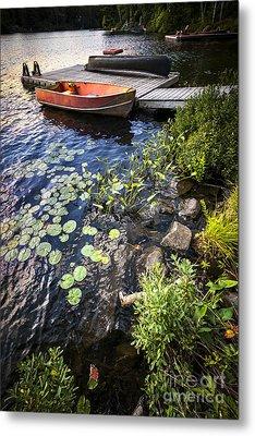 Rowboat At Lake Shore Metal Print by Elena Elisseeva