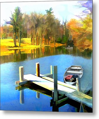 Rowboats On Blue Water Lake Metal Print by Elaine Plesser