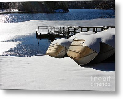 Rowboats Resting In Winter Metal Print
