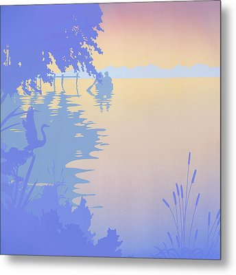 Rowing Back To The Boat Dock At Sunset Abstract Metal Print