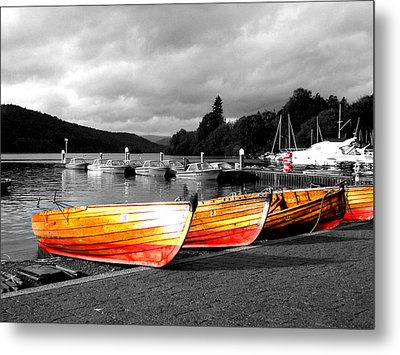 Rowing Boats Ready For Work Metal Print