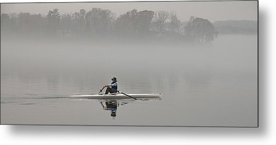 Rowing Into Morning Fog Metal Print by Gary Slawsky