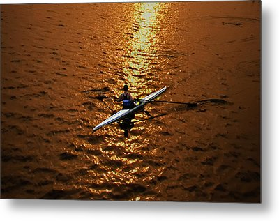 Rowing Into The Sunset Metal Print by Bill Cannon