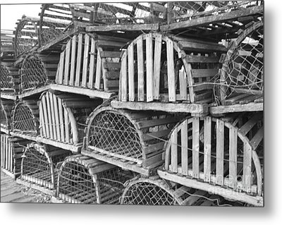 Rows Of Old And Abandoned Lobster Traps Metal Print by John Telfer