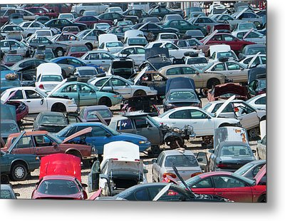 Rows Of Old Wrecked Cars In Junk Yard Metal Print by Bill Bachmann