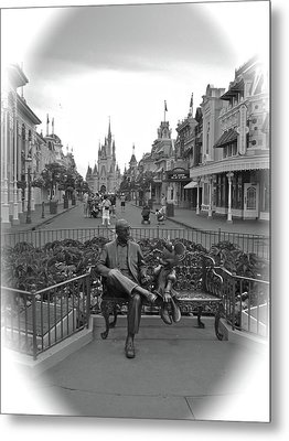 Roy And Minnie Mouse Black And White Magic Kingdom Walt Disney World Metal Print by Thomas Woolworth