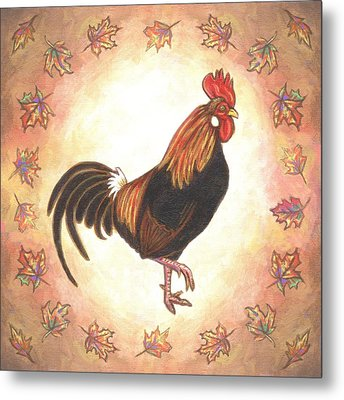 Roy The Rooster Two Metal Print by Linda Mears