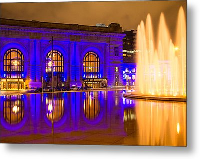 Royal Blue Reflections Union Station Metal Print