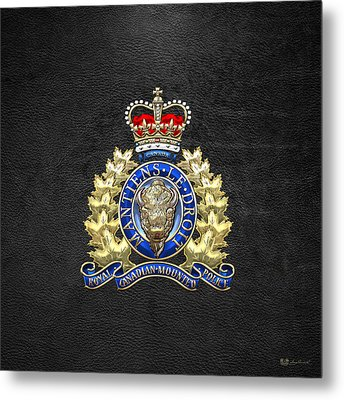 Royal Canadian Mounted Police - Rcmp Badge On Black Leather Metal Print by Serge Averbukh