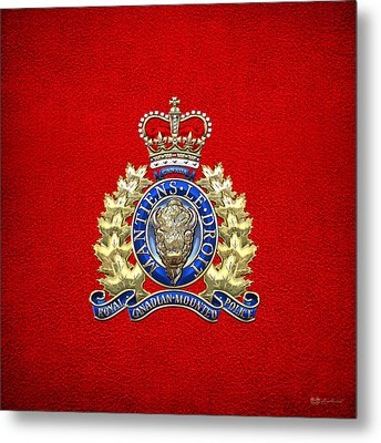 Royal Canadian Mounted Police - Rcmp Badge On Red Leather Metal Print by Serge Averbukh