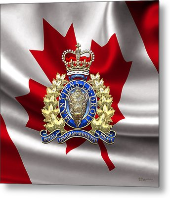 Royal Canadian Mounted Police - Rcmp Badge Over Waving Flag Metal Print by Serge Averbukh