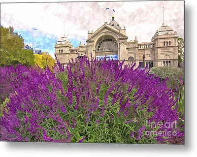 Royal Exhibition Building And Salvia Maynight Purple Flowers Metal Print