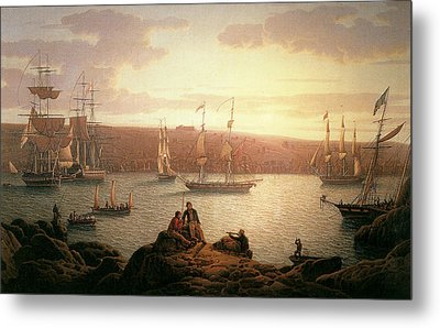 Royal Naval Vessels Off Pembroke Dock Hilford Haven Metal Print by Robert Salmon