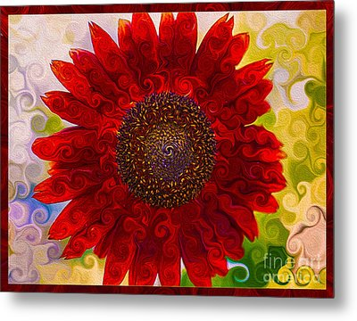 Royal Red Sunflower Metal Print by Omaste Witkowski
