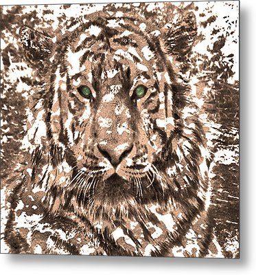 Royal Tiger In Digital Art Metal Print by Mario Perez