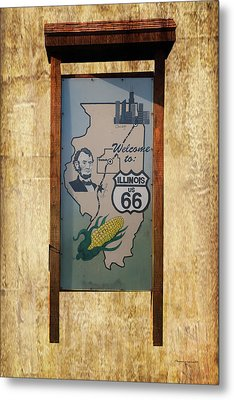 Rt 66 Towanda Il Welcome Signage Metal Print by Thomas Woolworth