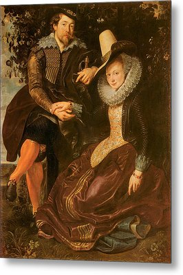 Rubens And Isabella Brand Under A Honeysuckle Bower Metal Print by Peter Paul Rubens