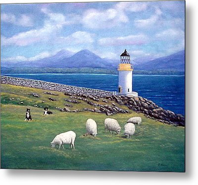 Rubh An Duin Lighthouse Scotland Metal Print by Fran Brooks
