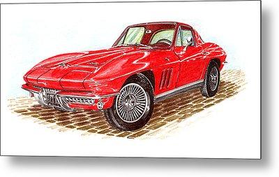 Ruby Red 1966 Corvette Stingray Fastback Metal Print