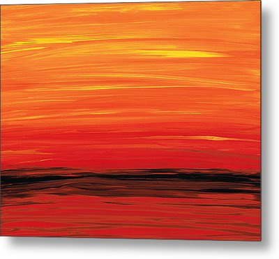 Ruby Shore - Red And Orange Abstract Metal Print