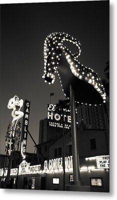 Ruby Slipper Neon Sign Lit Up At Dusk Metal Print by Panoramic Images