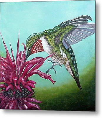 Metal Print featuring the painting Ruby-throated Hummingbird by Fran Brooks