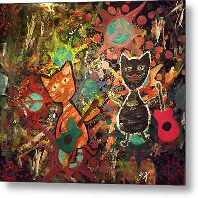 Rudy And Sketch Electric Cats Metal Print by Yvonne  Kroupa