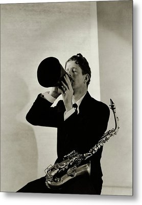 Rudy Vallee With A Saxophone Metal Print by George Hoyningen-Huen?