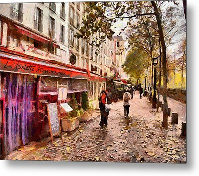 Metal Print featuring the painting Rue Coquilliere In Paris by Kai Saarto