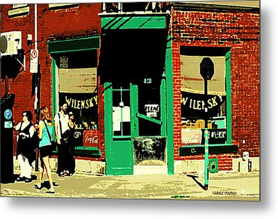 Rue Fairmount Wilensky Diner Cafe Feeding The Parking Meter Montreal Street Scene Carole Spandau Metal Print by Carole Spandau