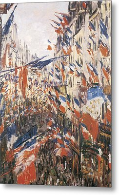 Rue Montorgeuil Decked With Flags Metal Print by Claude Monet