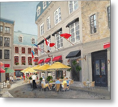 Rue Saint Amable Restaurant Metal Print by Marilyn Zalatan