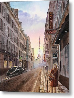 Rue Saint Dominique Sunset Through Eiffel Tower   Metal Print by Irina Sztukowski