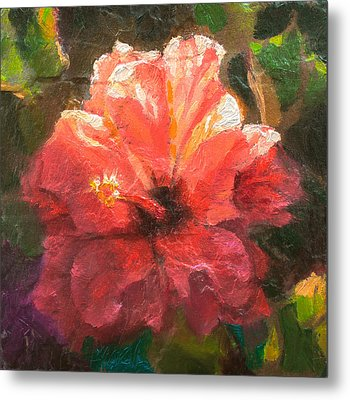 Ruffled Light Double Hibiscus Flower Metal Print