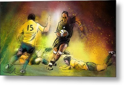 Rugby 01 Metal Print by Miki De Goodaboom