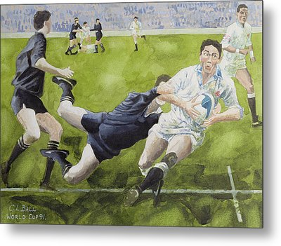 Rugby Match England V New Zealand In The World Cup, 1991, Rory Underwood Being Tackled Wc Metal Print