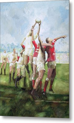 Rugby Match Llanelli V Swansea, Line Out Metal Print