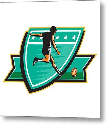 Rugby Player Kicking Ball Shield Retro Metal Print by Aloysius Patrimonio