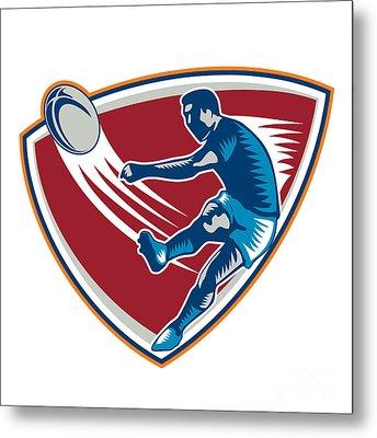 Rugby Player Kicking Ball Shield Woodcut Metal Print by Aloysius Patrimonio
