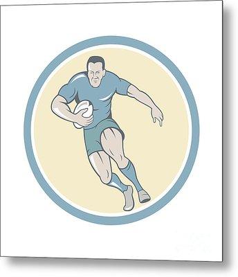 Rugby Player Running Ball Circle Cartoon Metal Print by Aloysius Patrimonio