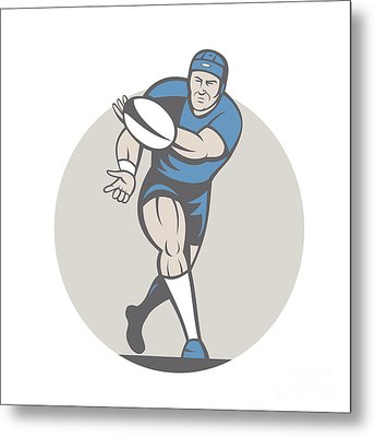 Rugby Player Running Ball Isolated Cartoon Metal Print by Aloysius Patrimonio