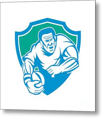 Rugby Player Running Ball Shield Linocut Metal Print by Aloysius Patrimonio