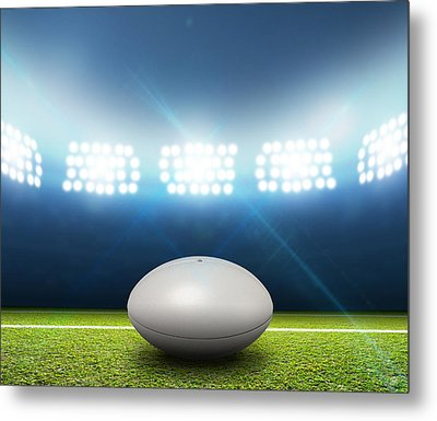 Rugby Stadium And Ball Metal Print by Allan Swart
