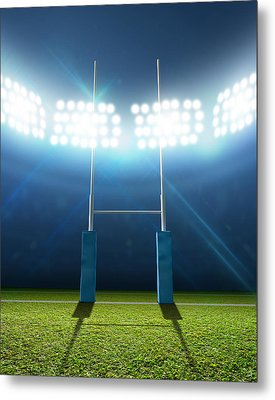 Rugby Stadium And Posts Metal Print by Allan Swart