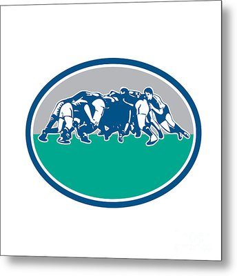 Rugby Union Scrum Oval Retro Metal Print by Aloysius Patrimonio