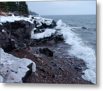 Rugged Shore Winter Metal Print by James Peterson