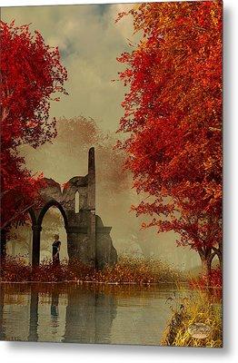 Ruins In Autumn Fog Metal Print by Daniel Eskridge